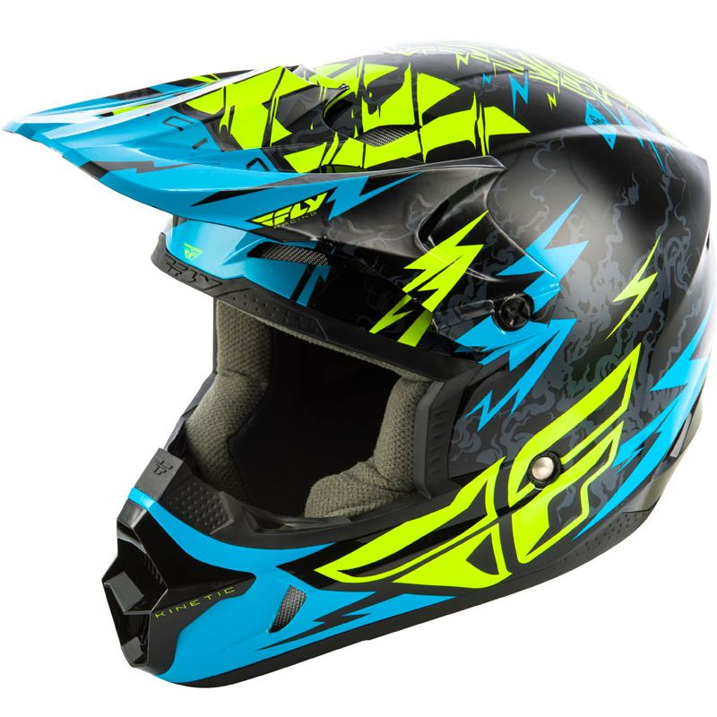 Casco de motocross Fly KID KINETIC - SHOCKED - BLACK TEAL