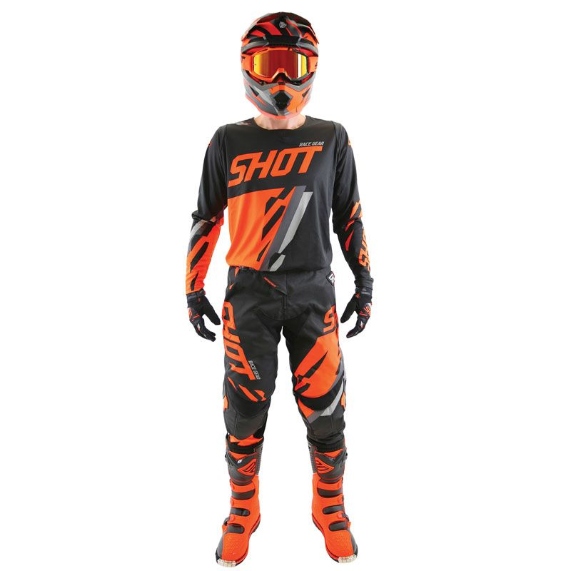 Guantes de motocross Shot destockage CONTACT SCORE -BLACK NEON ORANGE 2019