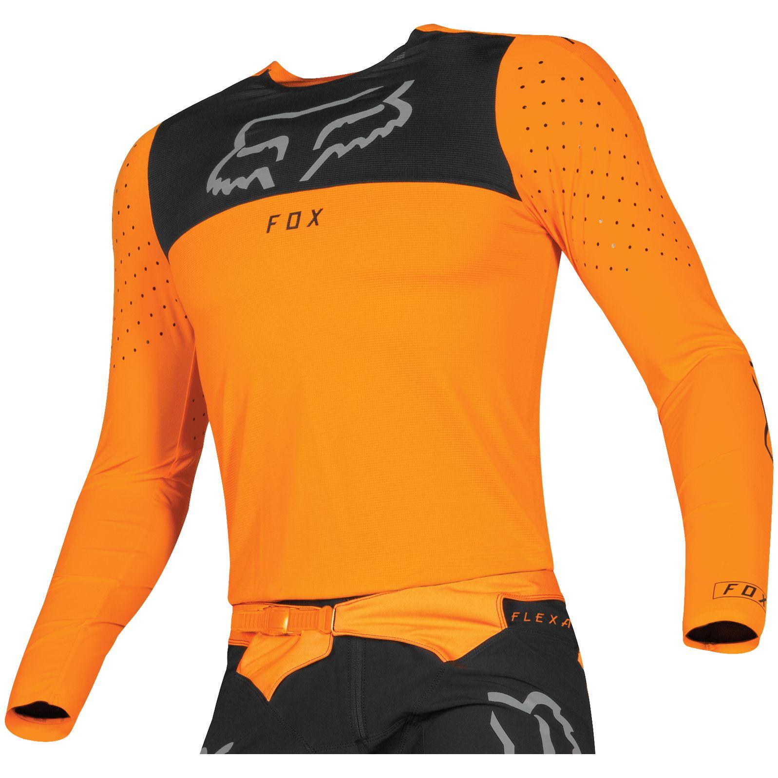 Camiseta De Motocross Fox Destockage Flexair Royl Orange Flame 2019 Motoblouz Es