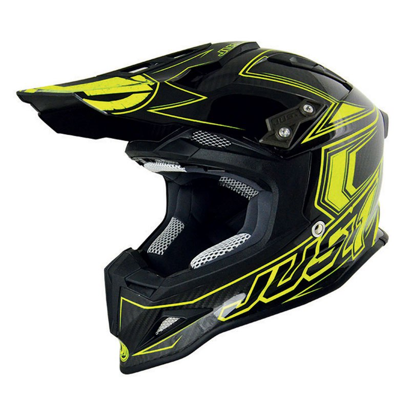 Casco de motocross JUST1 J12 - CARBONO AMARILLO FLÚOR 2017