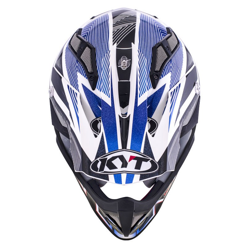 Casco de motocross KYT STRIKE EAGLE STRIPE BLANCO AZUL 2017