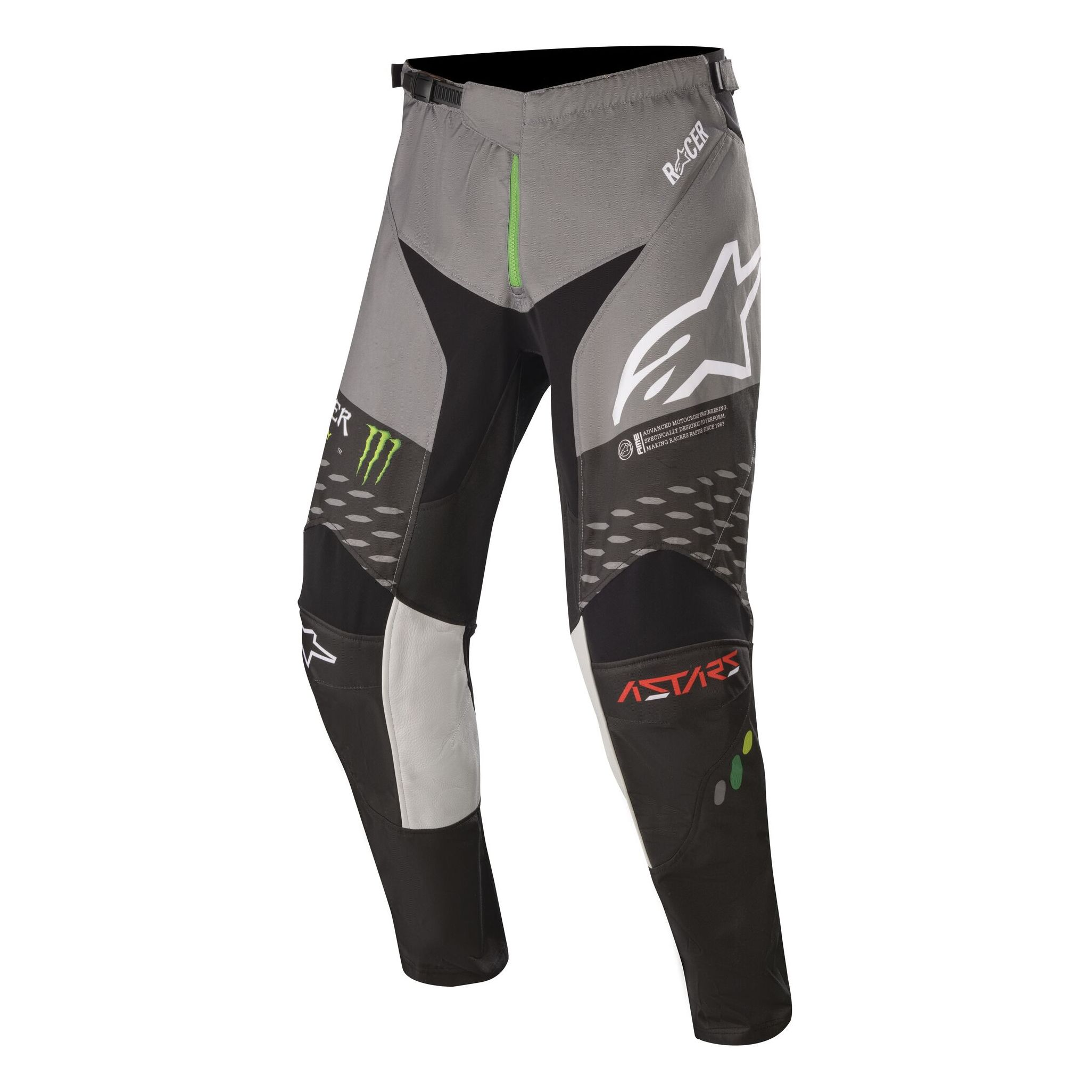 Pantalón de motocross ALPINESTARS MONSTER RAPTOR - MONSTER - BLACK GRAY BRIGHT GREEN 2020
