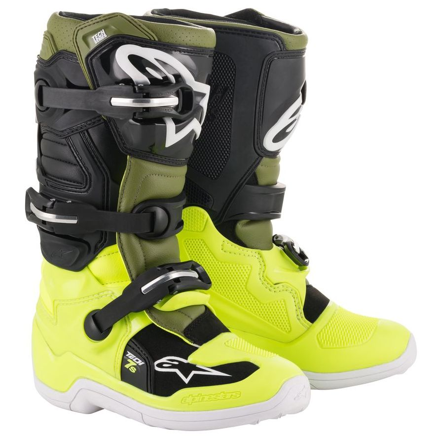 Botas de motocross Alpinestars TECH 7S YELLOW FLUO MILITARY GREEN BLACK